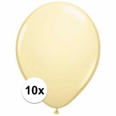 Zakje 10 metallic ivoren party ballonnen