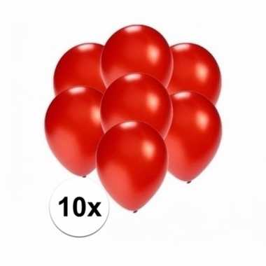 Zakje 10 metallic rode party ballonnen klein