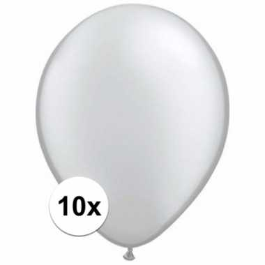 Zakje 10 metallic zilveren party ballonnen