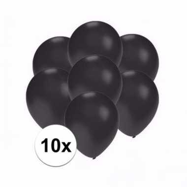 Zakje 10 metallic zwarte party ballonnen klein