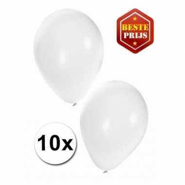 Zakje 10 witte party ballonnen
