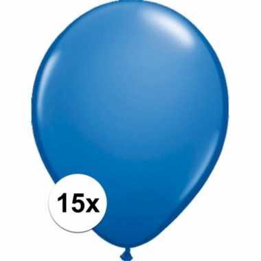 Zakje 15 metallic blauwe party ballonnen