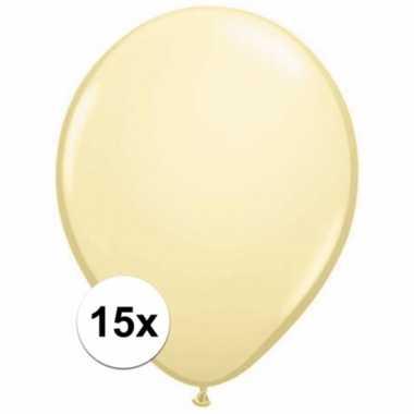 Zakje 15 metallic ivoren party ballonnen