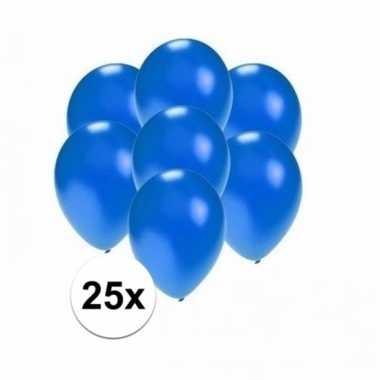 Zakje 25 metallic blauwe party ballonnen klein
