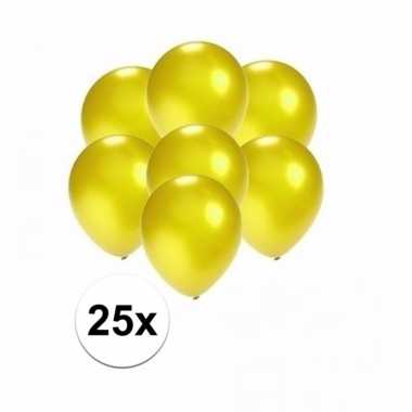 Zakje 25 metallic gele party ballonnen klein
