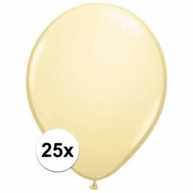 Zakje 25 metallic ivoren party ballonnen