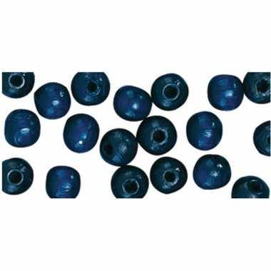 Zakje met 115 donkerblauwe kralen