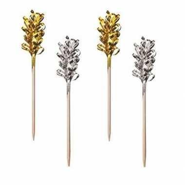 Zilver- en goudkleurige cocktail prikkers