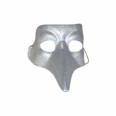 Zilver met glitters snavelmasker