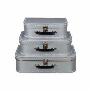 Zilver vintage koffertje 25 cm