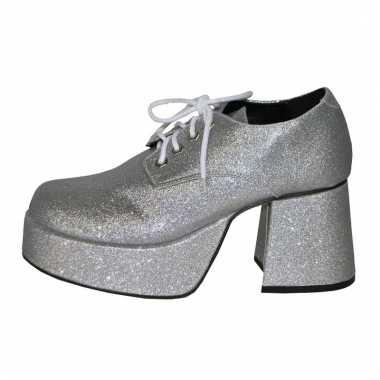 Zilveren blokhak schoenen