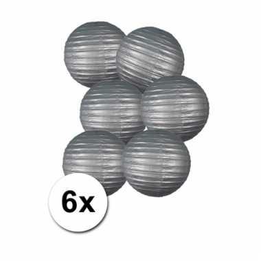 Zilveren bol lampionnen 25 cm 6 stuks