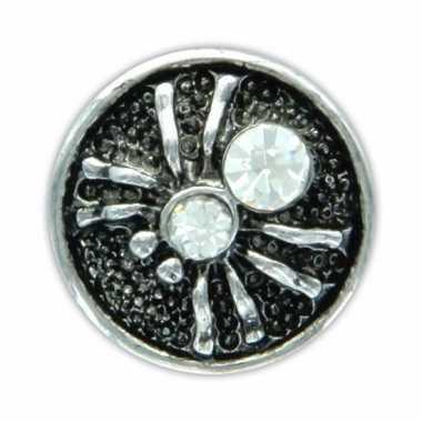 Zilveren chunk met spin wit 1,8 cm