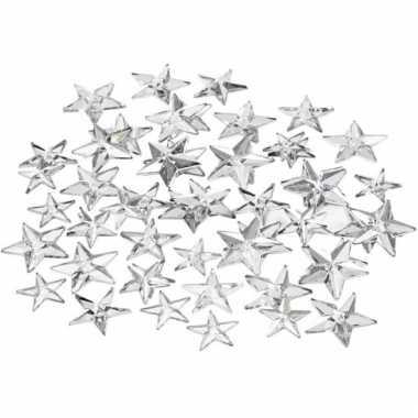 Zilveren decoratie plak diamantjes ster