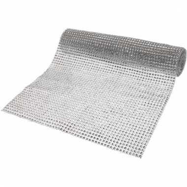 Zilveren diamantjes tafelloper 25 x 200 cm
