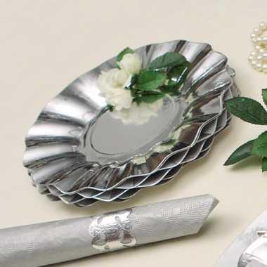 Zilveren diepe barbecue borden 21 cm