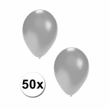 Zilveren feest ballonnen 50x