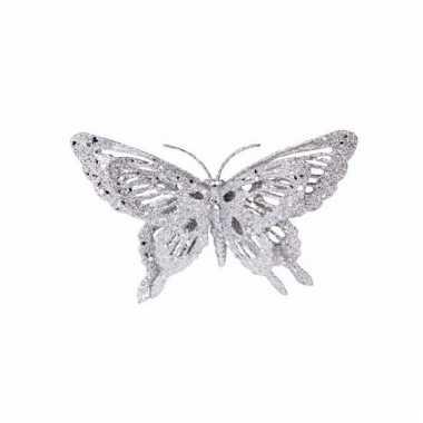 Zilveren kerstboom versiering vlinder 15 cm