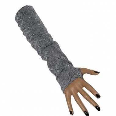 Zilveren lange handschoenen