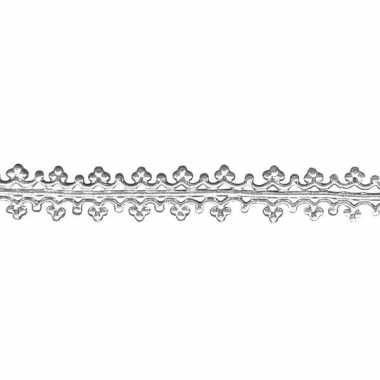Zilveren lintje voor op een kaars 1,6 x 15 cm