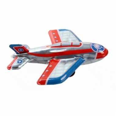 Zilveren ouderwets speelgoed vliegtuigje 11 cm