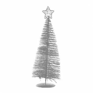 Zilveren plastic kerstbomen 21 cm