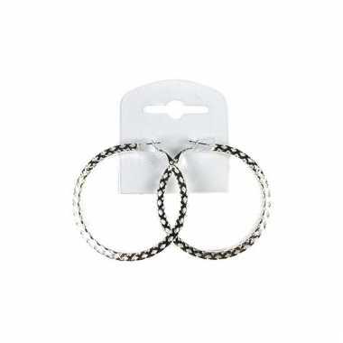 Zilveren ronde oorbellen 5,5 cm
