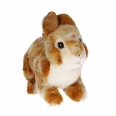 Zittend konijntje knuffel lichtbruin/wit 22 cm