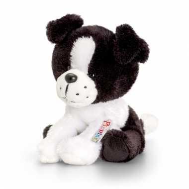 Zittende border collie knuffel hond pluche14cm