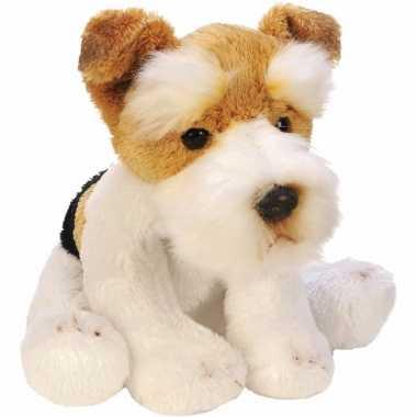 Zittende fox terrier wit/bruin knuffel 13 cm