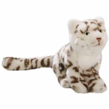 Zittende sneeuwtijger knuffel 26 cm