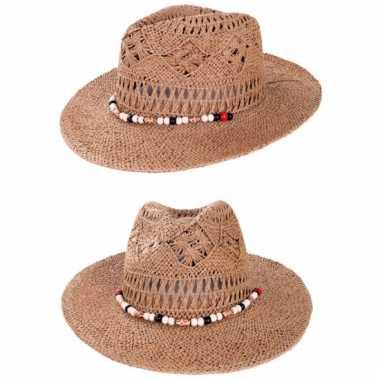 Zomerse ibiza cowboy hoed met kralen