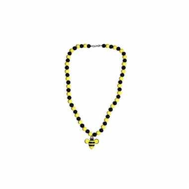 Zwart gele kralenketting met bij hanger eraan