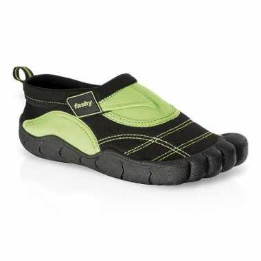 Zwart/groene kids waterschoenen watersport