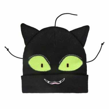 Zwart katje/poesje kindermuts voor meisjes