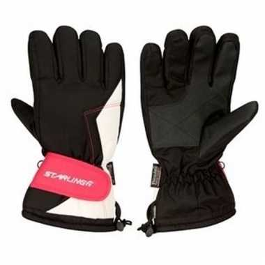 Zwart met roze ski handschoenen voor dames pu supergrip