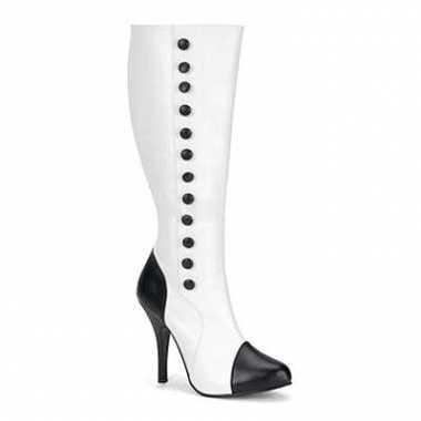 Zwart met witte laarzen met hak
