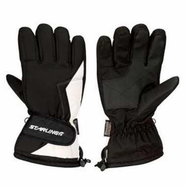 Zwart met witte ski handschoenen voor volwassenen pu supergrip