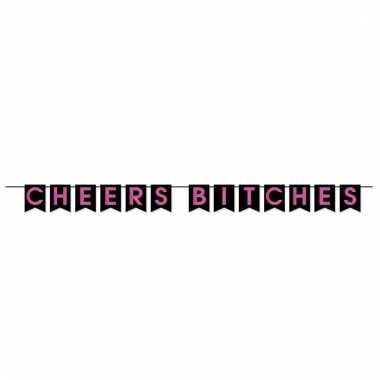 Zwart/roze slinger cheers bitches 366 cm