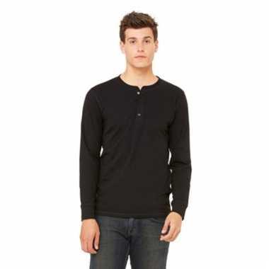 Zwart shirt voor heren met knoopjes