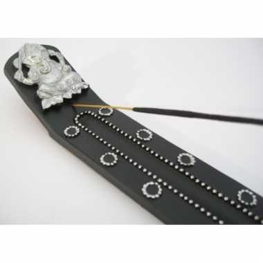 Zwart wierookplankje met versieringen 28 cm