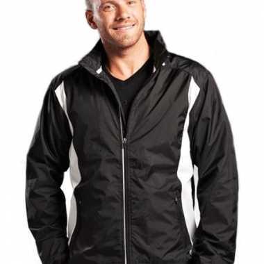 Zwart witte nylon jas voor heren
