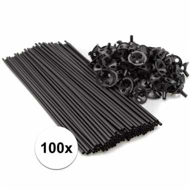 Zwarte ballonnenstaafjes/ballonnenstokjes 100 stuks