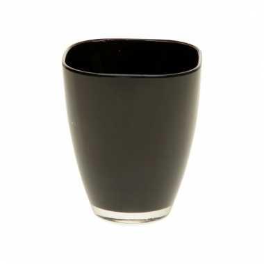 Zwarte bloempot vierkant 17 cm