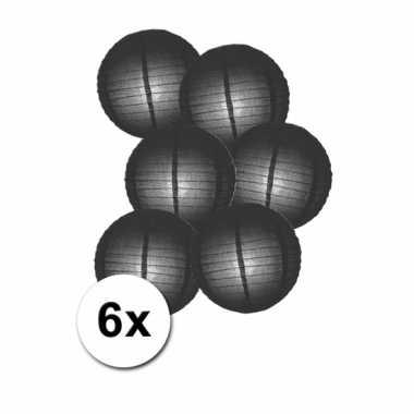 Zwarte bol lampionnen 25 cm 6 stuks
