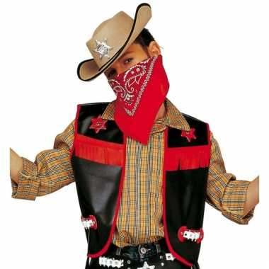 Zwarte cowboy vest voor kids
