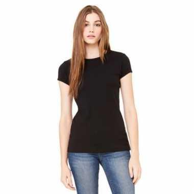 Zwarte dames t-shirtjes hanna ronde hals