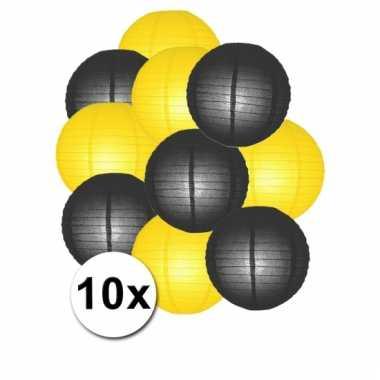 Zwarte en gele feest lampionnen 10x