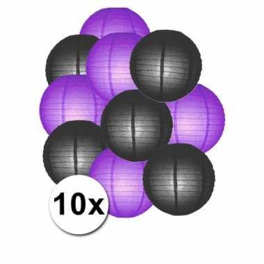 Zwarte en paarse feest lampionnen 10x