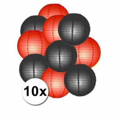 Zwarte en rode feest lampionnen 10x